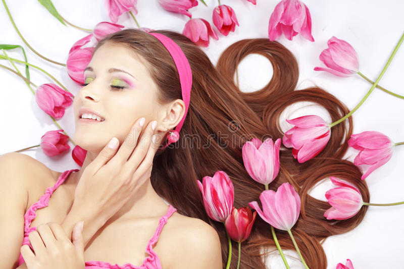 Download Beautiful girl with tulips stock photo. Image of cute - 14181862