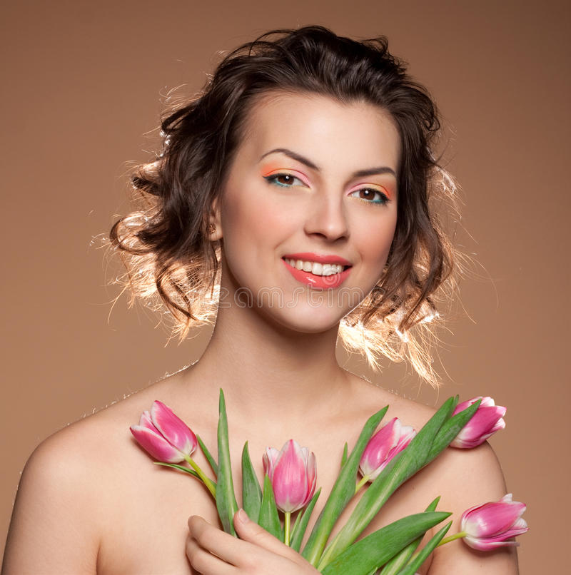 Download Beautiful girl with tulips stock photo. Image of spring - 20420266