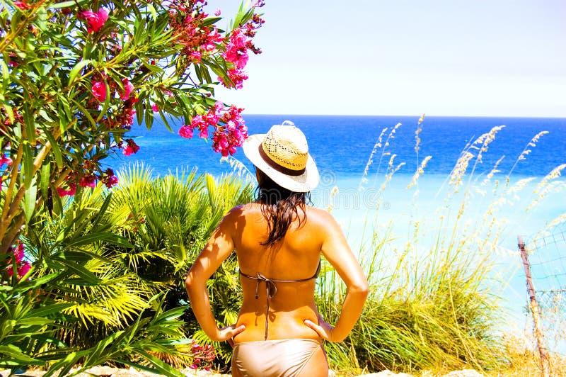 Beautiful girl on vacation royalty free stock photos