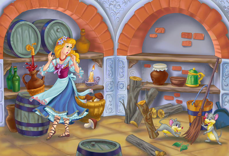 Beautiful girl in the vine cellar scared of mouse. Illustration to east European folk fairytale vector illustration