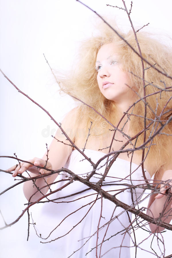Beautiful girl - with a voluminous hair. royalty free stock photo