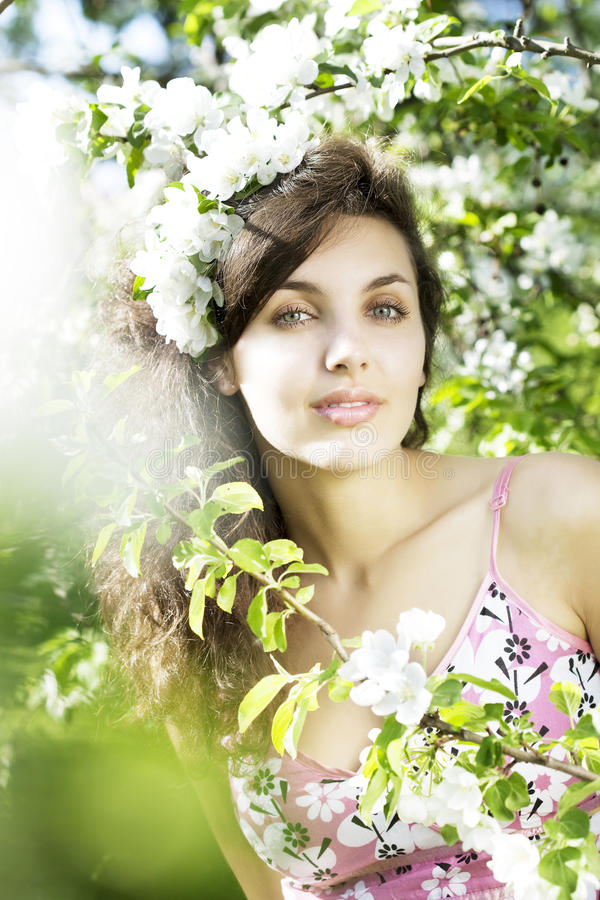 Beautiful girl was blossoming garden. The image of a beautiful girl was blossoming apple orchard stock image
