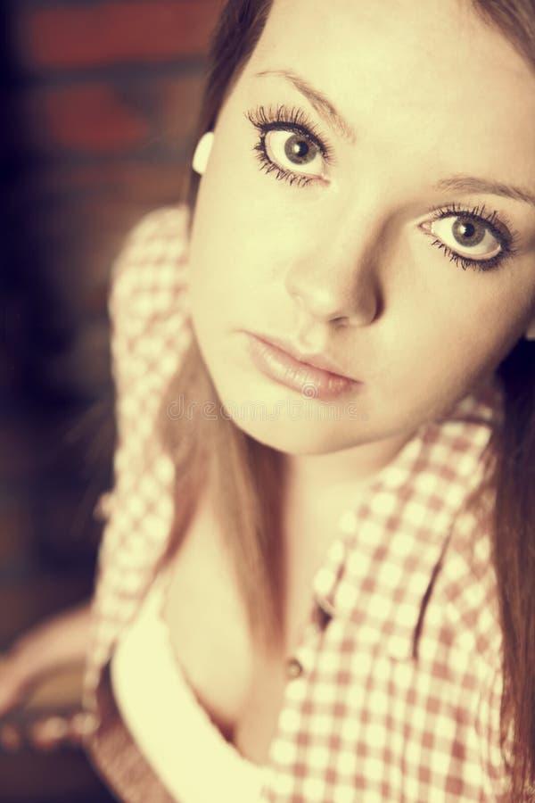Beautiful girl wearing casual square shirt