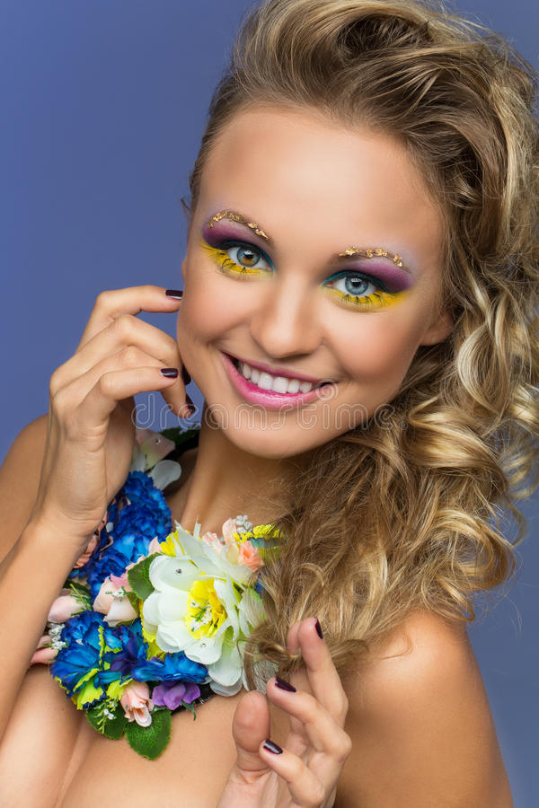 Beautiful Young Woman With Bright Makeup Stock Photo