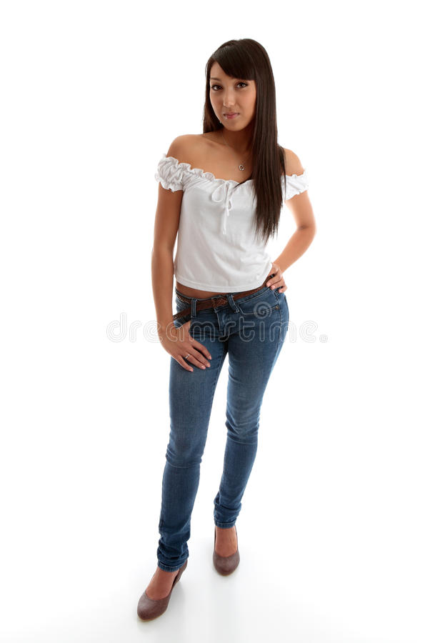 Beautiful girl wearing skinny jeans and top stock photo