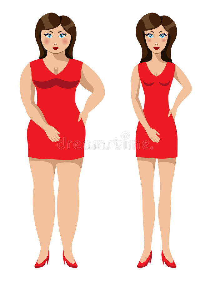 Download Beautiful Girl Before And After A Weight Loss Stock Vector - Image: 20756563
