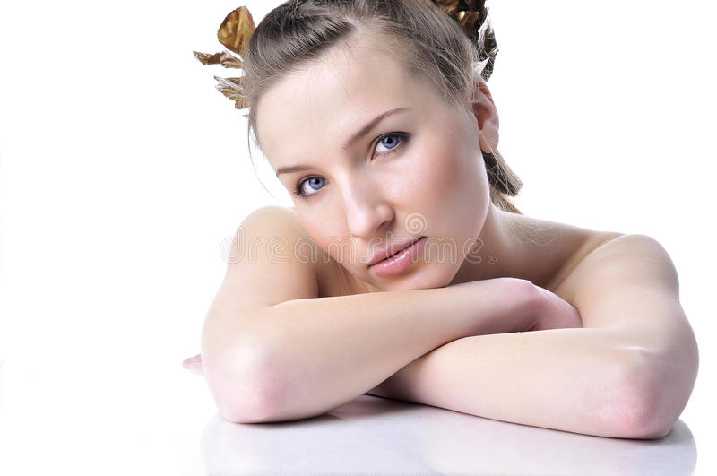 Beautiful girl with a well-groomed skin stock photo