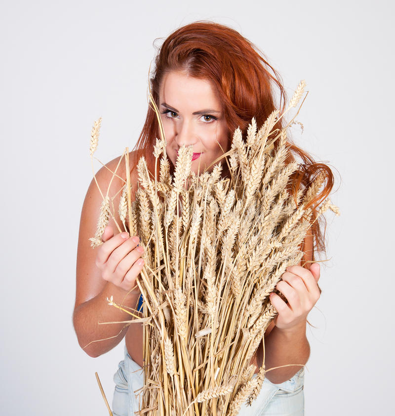 The Beautiful Girl With Wheat Ears Isolated Stock Image