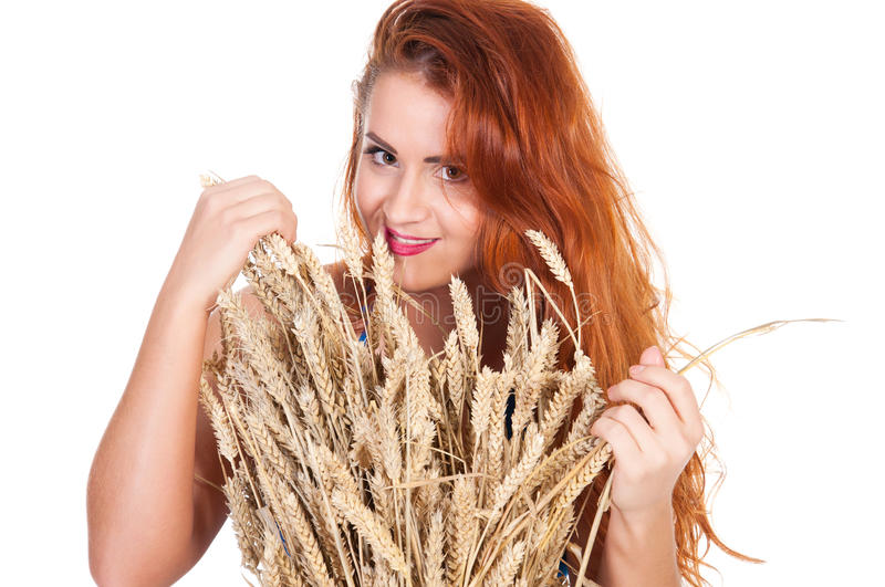 Download The Beautiful Girl With Wheat Ears Isolated Stock Image - Image: 31713705