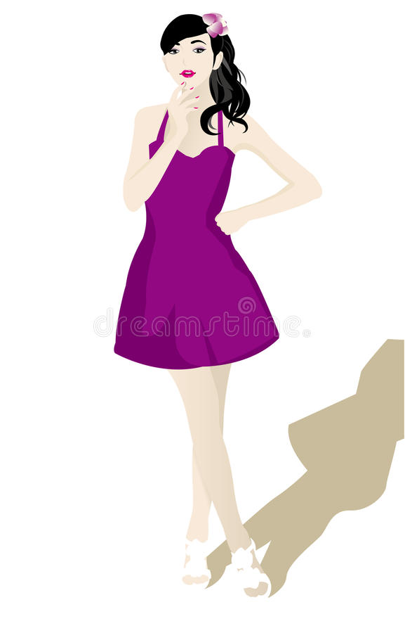Download Beautiful girl in white stock vector. Image of girl, woman - 21522144