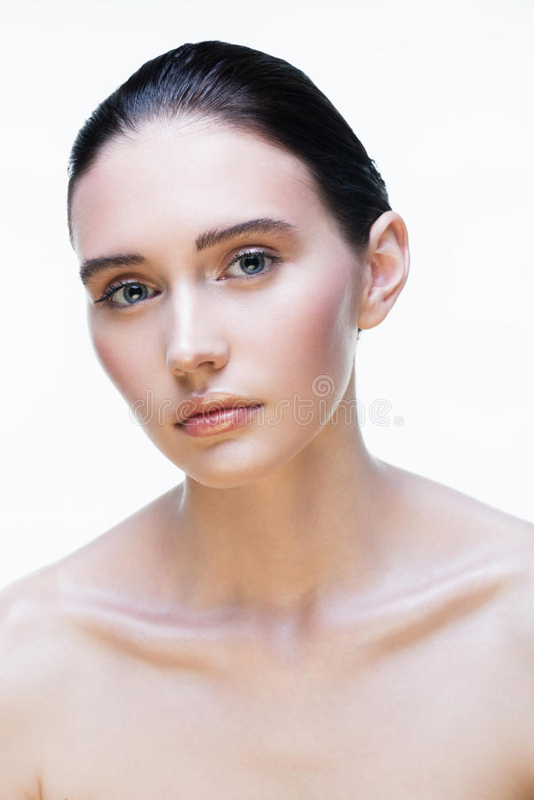 Beautiful girl on a white background royalty free stock photos