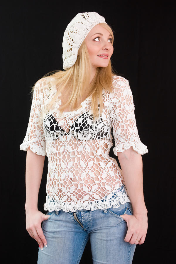 Download Beautiful Girl In White Beret And Knitted Jacket. Stock Photo - Image: 12669988