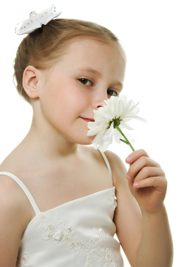 Download Beautiful Girl In White Dress With A Flower Stock Photo - Image: 26702954