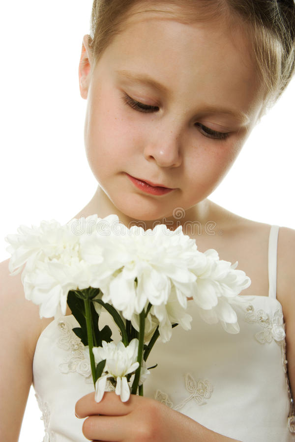 Download Beautiful Girl In White Dress With A Flowers Stock Photo - Image of isolated, face: 26702792