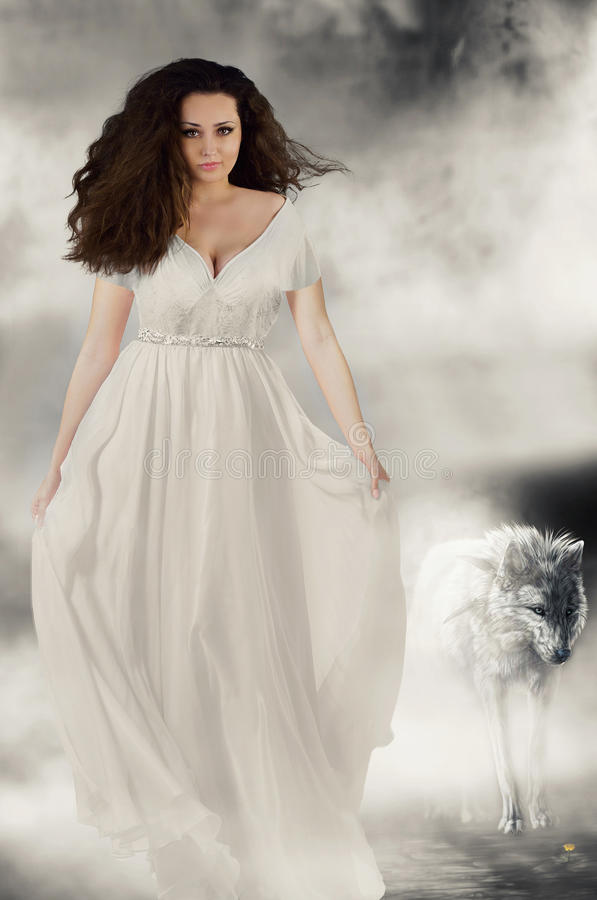 Book Cover White Girl : Beautiful girl in white dress with wolf book cover