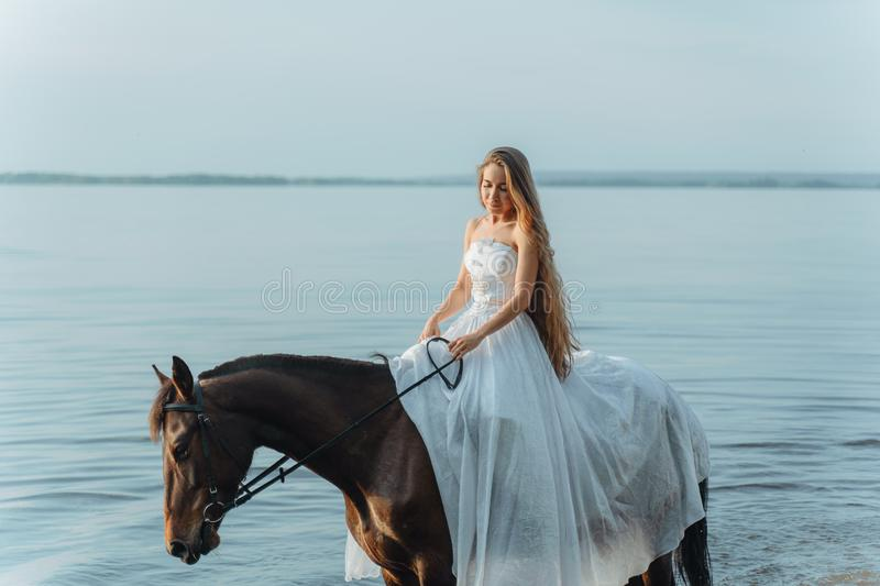 Beautiful girl in a white long dress riding a horse. Bride in the lake on horseback. Beautiful girl in a white long dress riding a horse. Bride in the lake on royalty free stock photography