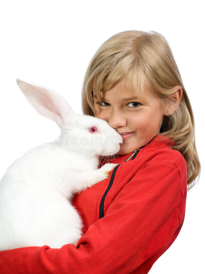 The beautiful girl with a white rabbit royalty free stock photo