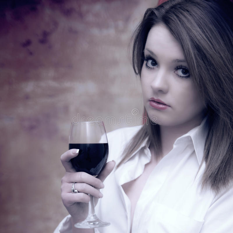 Beautiful Girl In White Shirt With Red Wine Stock Images