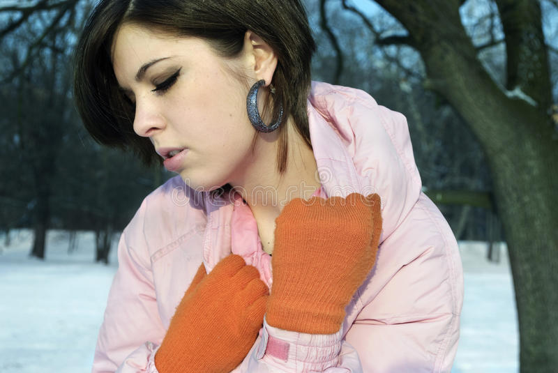 Beautiful girl in the winter stock photography