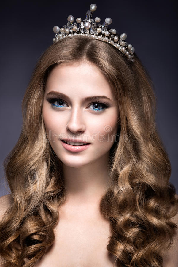 Free Beautiful Girl With A Crown In The Form Of A Princess. Royalty Free Stock Photos - 48843968