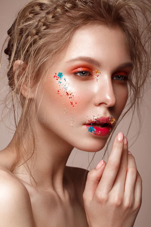 Free Beautiful Girl With Art Make-up And Flowers. Beauty Face. Stock Photos - 114611673