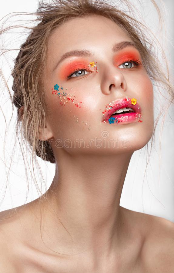 Free Beautiful Girl With Art Make-up And Flowers. Beauty Face. Stock Photos - 118693843