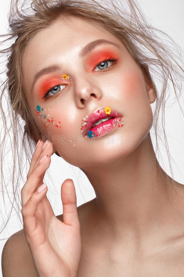 Free Beautiful Girl With Art Make-up And Flowers. Beauty Face. Royalty Free Stock Photos - 118693888