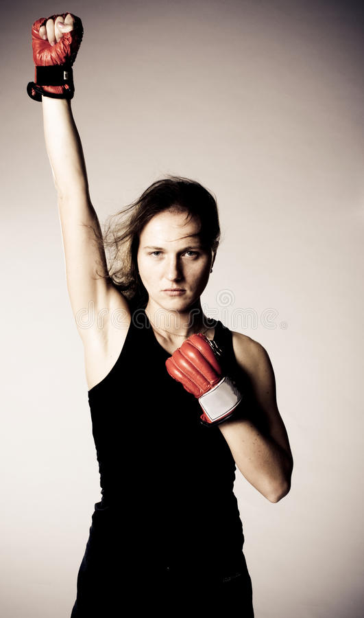 Free Beautiful Girl With Boxing Gloves. Stock Photo - 16579840