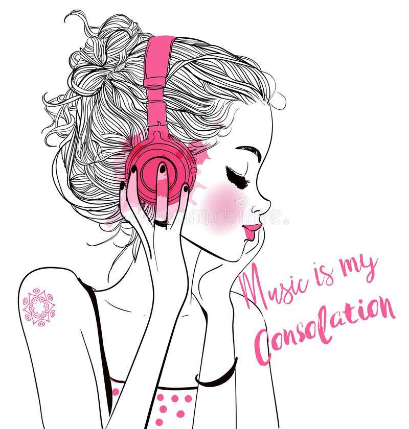 Free Beautiful Girl With Headphones Royalty Free Stock Image - 101003666