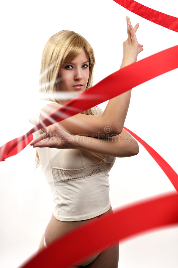 Free Beautiful Girl With Red Satin Ribbon Royalty Free Stock Photos - 9023898