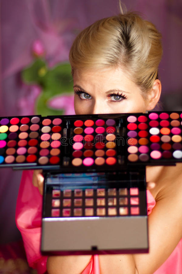 Free Beautiful Girl With Set Of Lipsticks For Make-up Stock Photo - 16152400