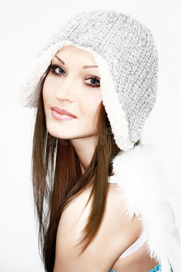 Free Beautiful Girl With Wing In Hat Royalty Free Stock Photos - 17708448