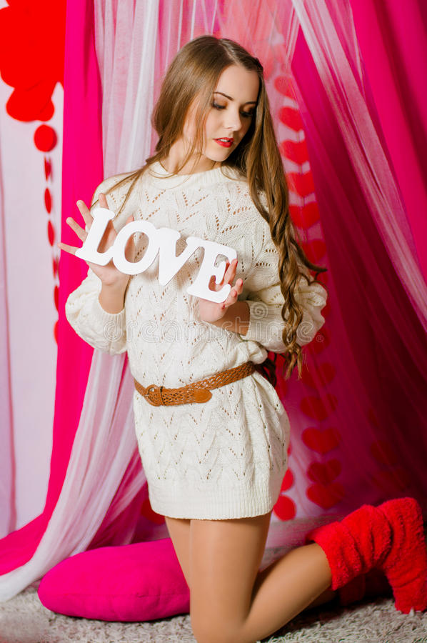 Beautiful Girl With The Word Love Stock Photo - Image of ...