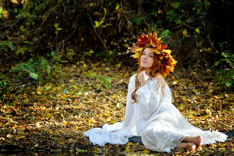 Beautiful girl in a wreath from yellow leaves, in a white dress sitting and posing on the banks of the Creek on a Sunny autumn day stock images