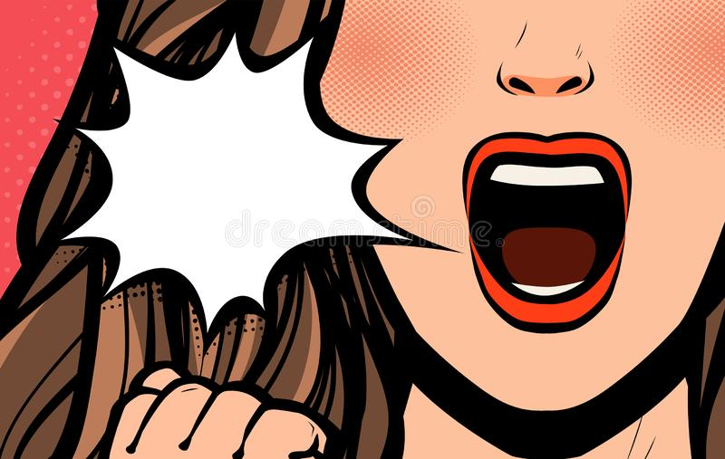 Beautiful girl or young woman screaming. Pop art retro comic style. Cartoon vector illustration vector illustration