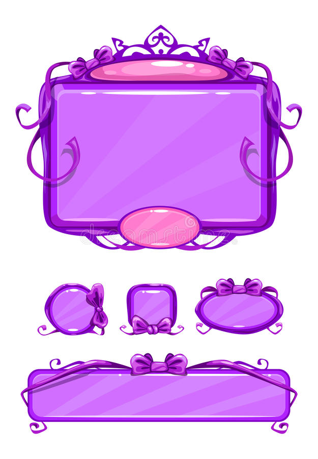 Beautiful girlish violet game user interface. Including different buttons and information panel. Princess style gui vector assets, isolated on white royalty free illustration