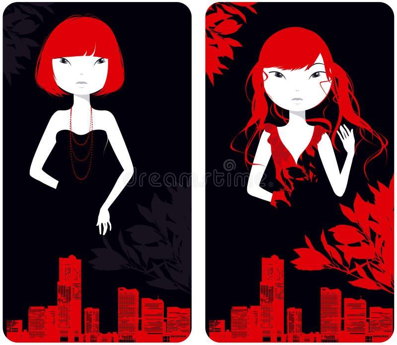 Download Beautiful Girls Against City Buildings Stock Vector - Image: 16777863