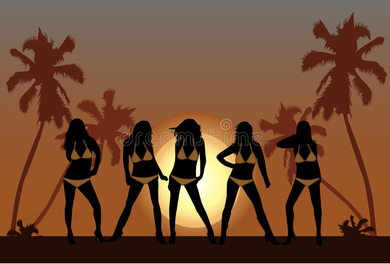 Download Beautiful girls on beach 2 stock illustration. Image of jump - 13092172
