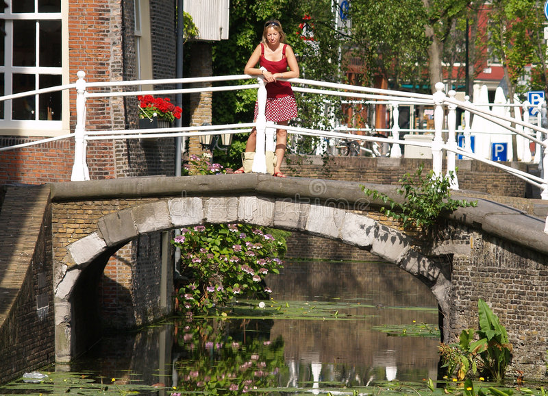 Download Beautiful girls on bridge stock image. Image of girl, green - 1252537