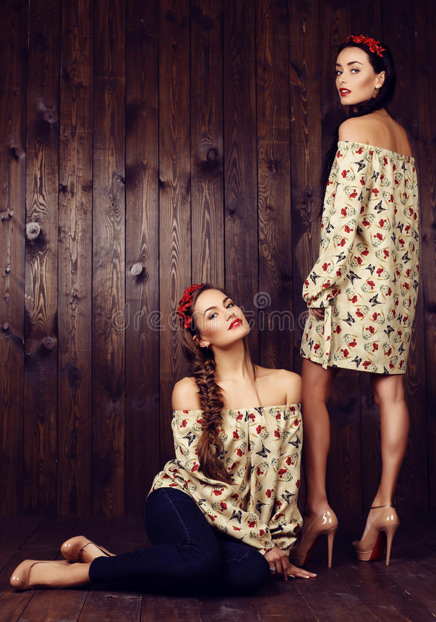 Beautiful girls with dark hair in dresses with prints of red poppies. Fashion studio photo of two beautiful girls with dark hair in dresses with prints of red stock images