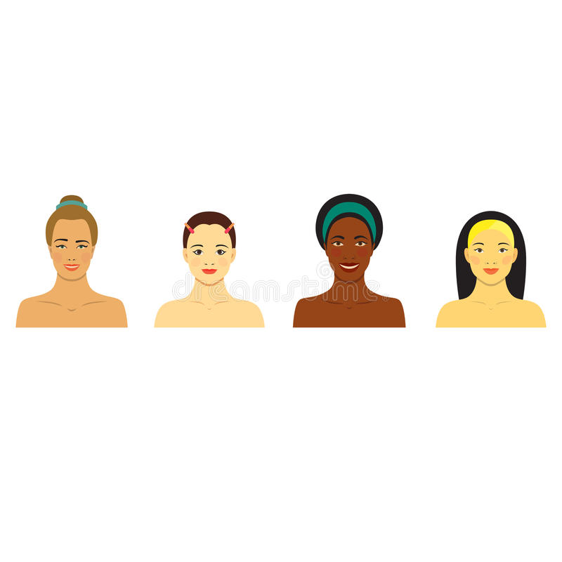 Beautiful girls of different races. Different skin tones. Set of flat Icons with smiling women. vector illustration