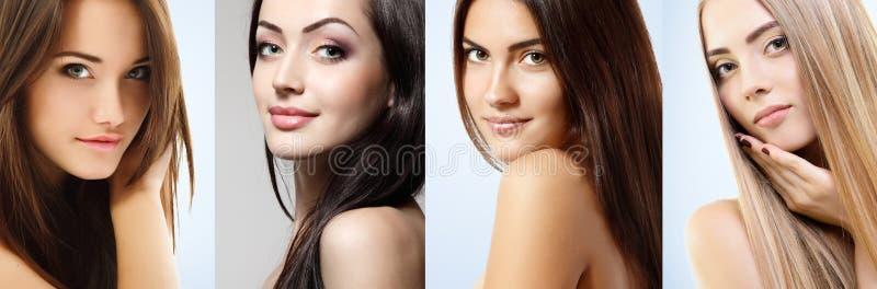 Beautiful girls, faces closeup. Beauty, beauty treatment, cosmetology concept royalty free stock image