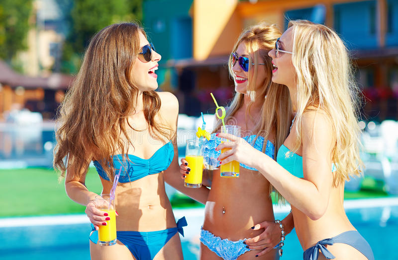 Beautiful girls having fun on summer vacation stock image