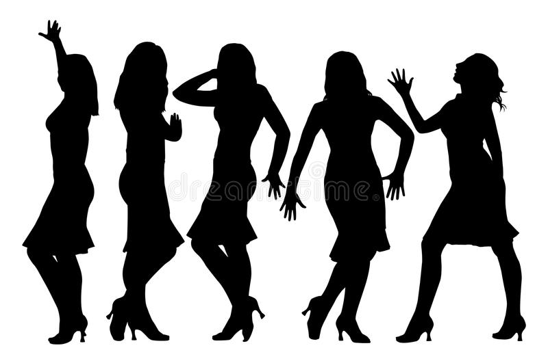 Beautiful girls posing. Five attractive beautiful girls posing. Isolated white background. EPS file available vector illustration