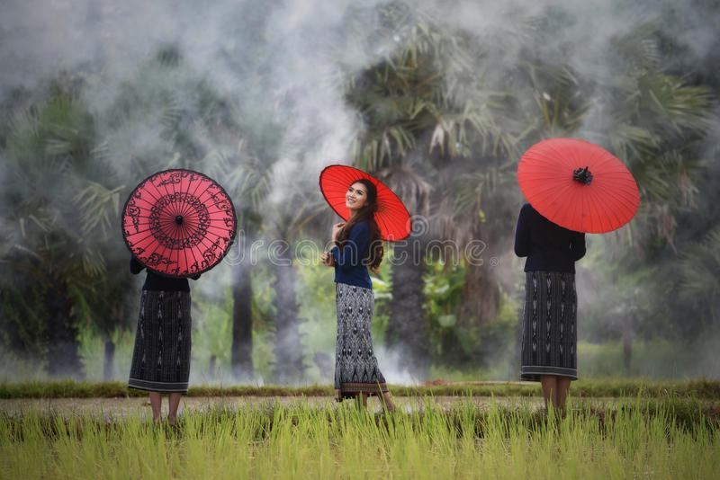 Beautiful Girls Red Umbrella royalty free stock images