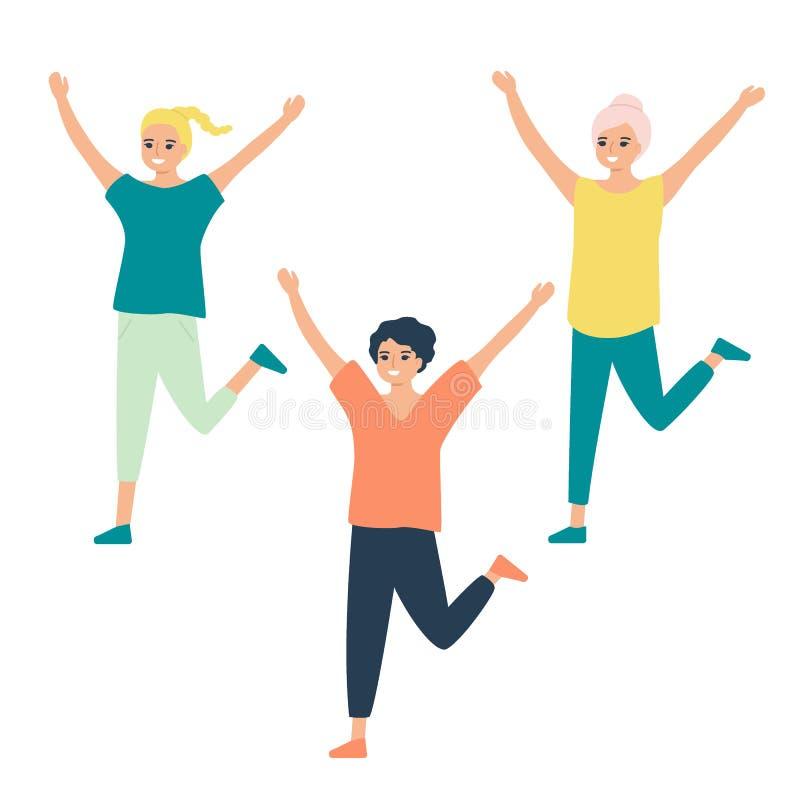 Beautiful girls train, play sports, dance. Sports group warm-up, dance training, zumba, fitness, gym, health training. Healthy. Beautiful girls train, play vector illustration