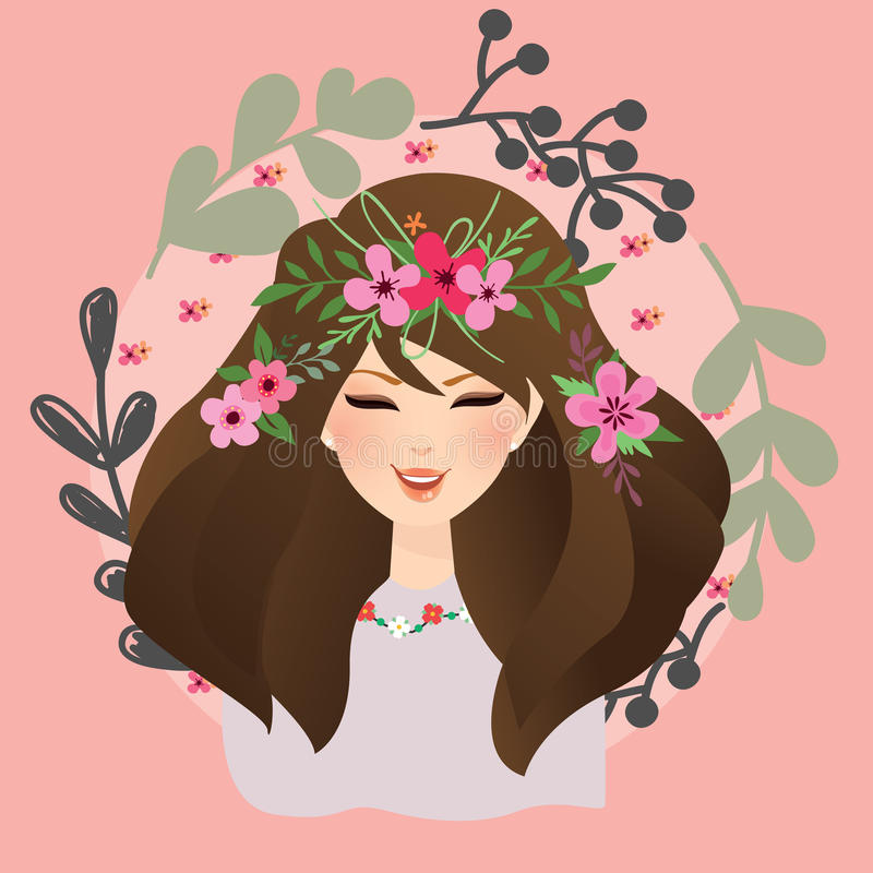 Beautiful girls woman with flower around her head bohemian gypsy style stock illustration