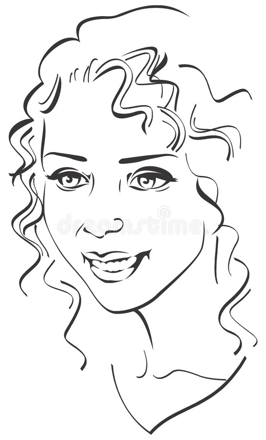 Beautiful Glamorous Woman's portrait. Black and white stock illustration