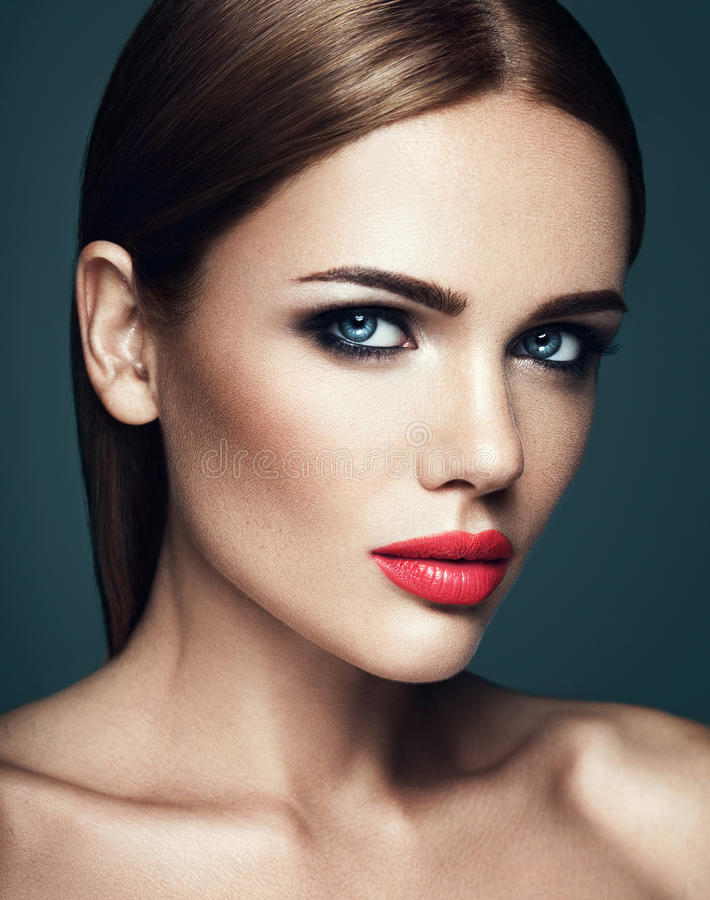 Beautiful glamour model with fresh daily makeup with stock image