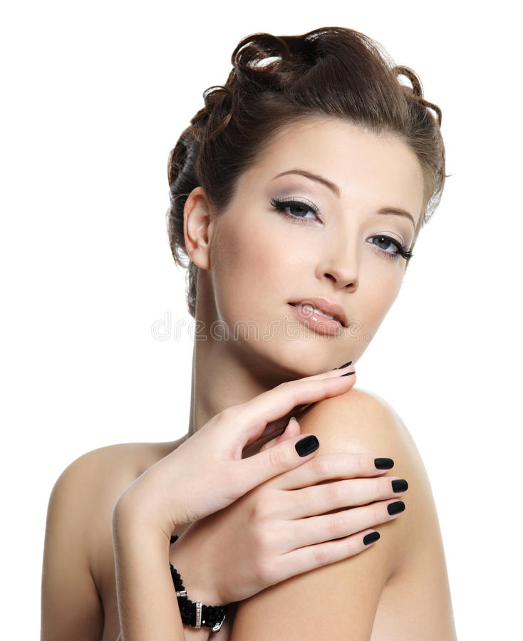Beautiful glamour woman with black nails royalty free stock photography